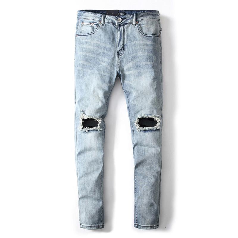 Jeans Stretch Punk 2019 Denim Light Fashion Men Blue Pants Color SvwpgRPq