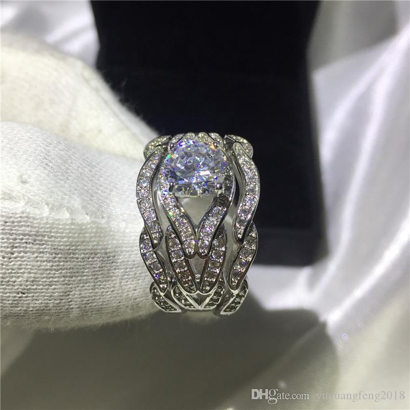 Fashion Jewelry Handmade Princess cut 8mm Cz 5A Zircon stone 10KT White Gold Filled Engagement Wedding Band Ring Set Sz 5-11