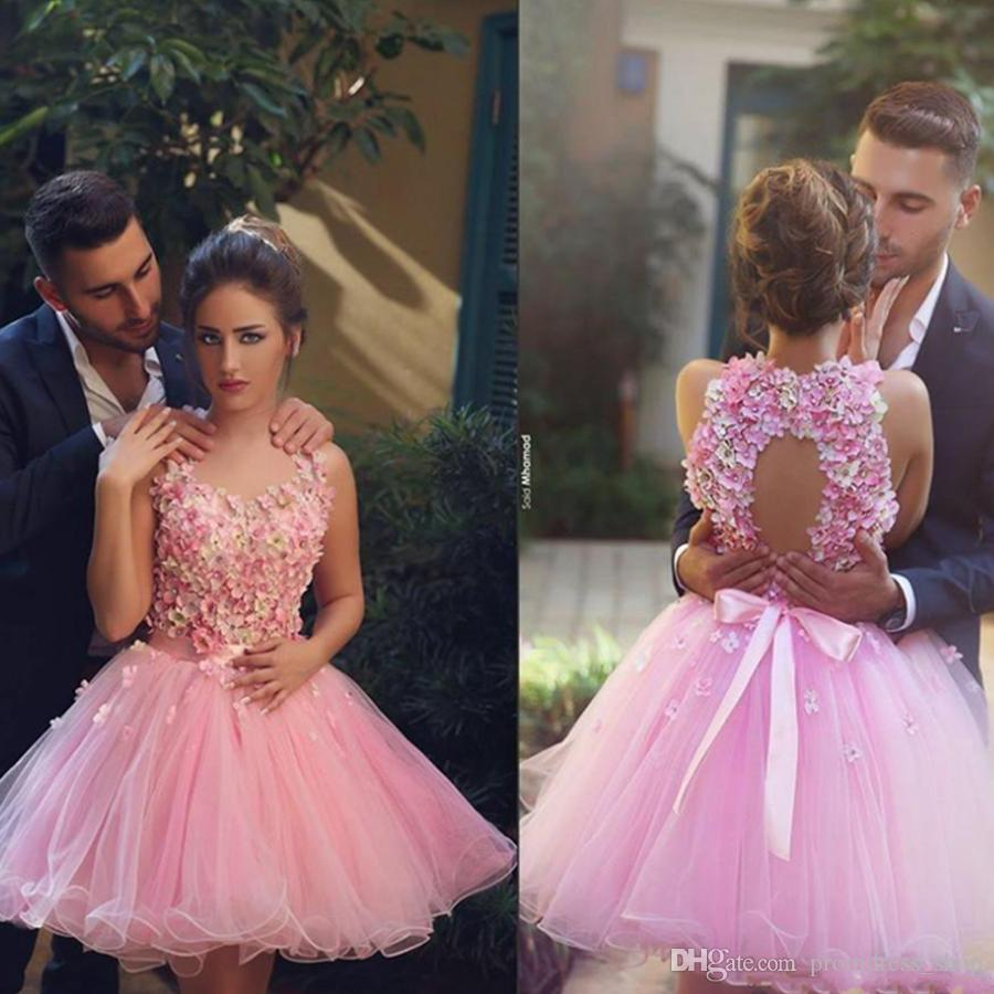 449e31f8ebb93 Free Shipping 2018 New Pink Halter Neck Backless 3D Flower Cocktail Dresses  Elegant Backless Short Prom Dresses Tulle Homecoming Dresses