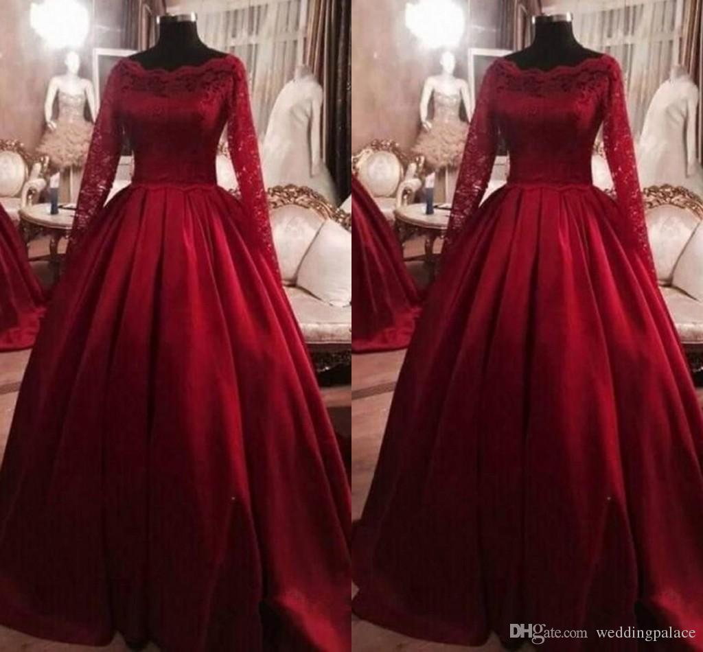 44e6c1177e New Lace Top Quinceanera Prom Dresses Scoop Neck Sweet 16 Dresses Prom Ball  Gowns Floral Appliques Long Sleeves Prom Gowns Short Red Prom Dresses  Strapless ...