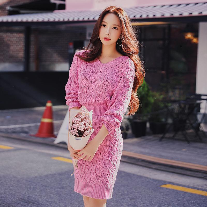 Dabuwawa Knitted Dress Winter 2018 New Fashion Casual Lady Solid Sweet  V-neck A-Line Dress Long Sleeve Dresses Cheap Dresses Dabuwawa Knitted  Dress Winter ... c42fd77ea46c