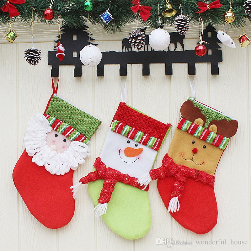 christmas sock gift bags christmas tree decoration pendants xmas party gift bags shape socks childrens gift bags dhl decorating your home for christmas - Childrens Christmas Tree Decorations