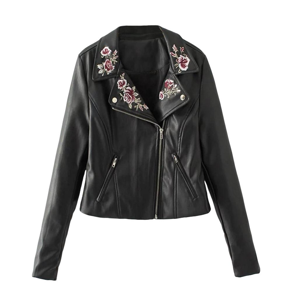 97806bcdb3361 Women PU Leather Jacket Floral Embroidery Zipper Biker Jacket Short  Motorcycle Outerwear Streetwear Black Jaqueta Couro Feminina Online with   79.64 Piece on ...