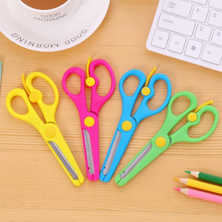 Office & School Supplies Collection Here Plastic Scissors Safety Round Head Scissors For Kids Students Paper Cutting Supplies For Kindergarten School Scissors