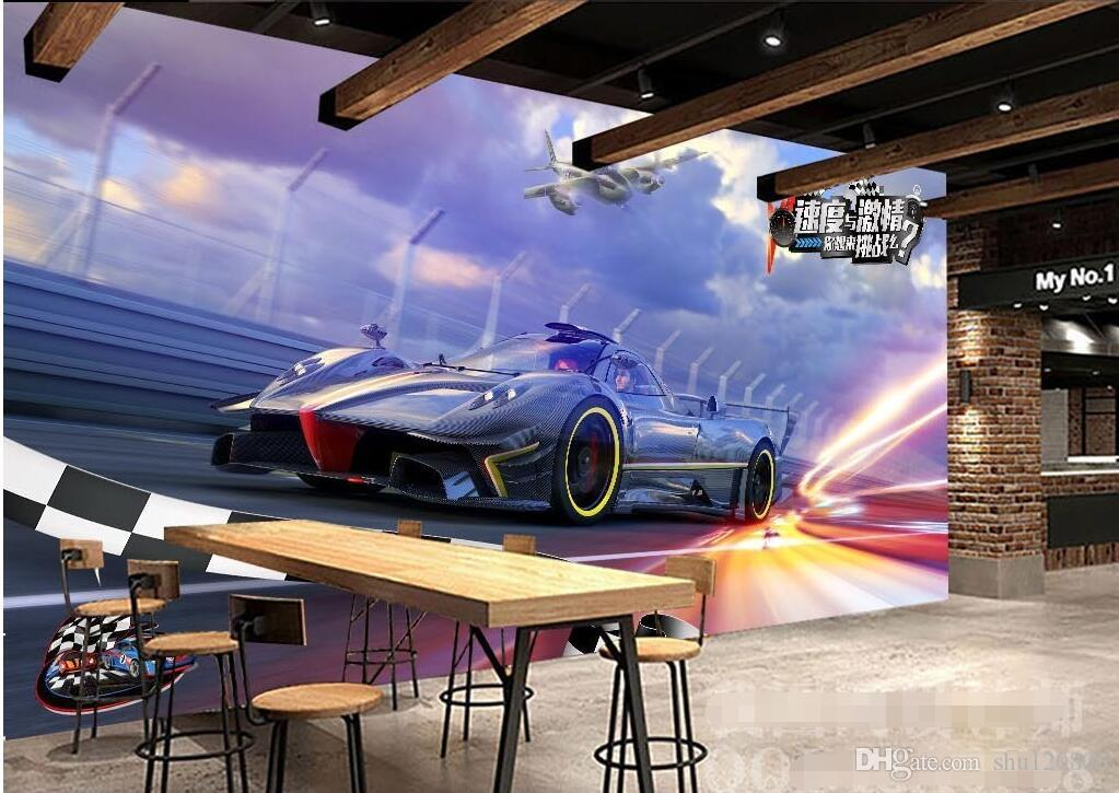 3d Wallpaper On A Wall Custom Photo Mural Hd Cool Speed Sports Car