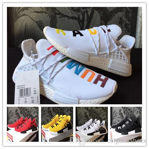 Best sale Human Race NMD Factory Real Boost Yellow Red Green Black Orange NMD Men Pharrell Williams X Human Race NMD Running Shoes Sneakers
