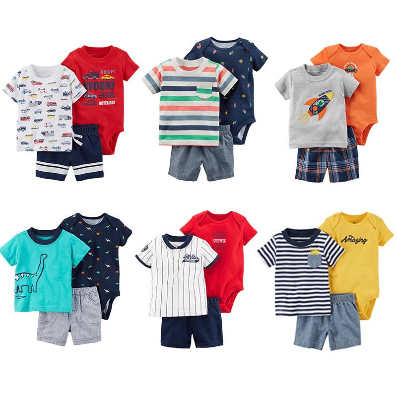 f071e67054f2 2019 Toddler Baby Boy Summer Clothing Set Kids Boy Clothes Set Bodysuit + T  Shirt + Shorts Baby Boy Clothing Newborn Cloth From Lovebabby