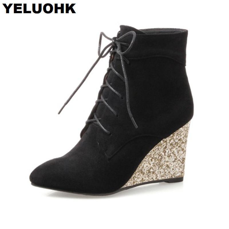 13ecaff7e2a Acheter Glitter Femmes Bottes Hautes Chaussures Compensées Bout Pointu  Bottines Pour Femmes Automne Hiver Chaussures À Talons Hauts À Lacets  Femmes ...