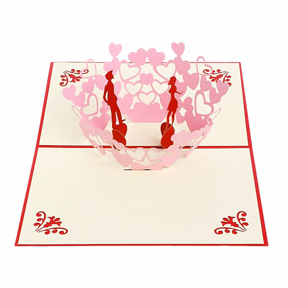 Happy Couple 3D Greeting Card Pop Up Paper Cut Postcard Birthday Valentines Gift