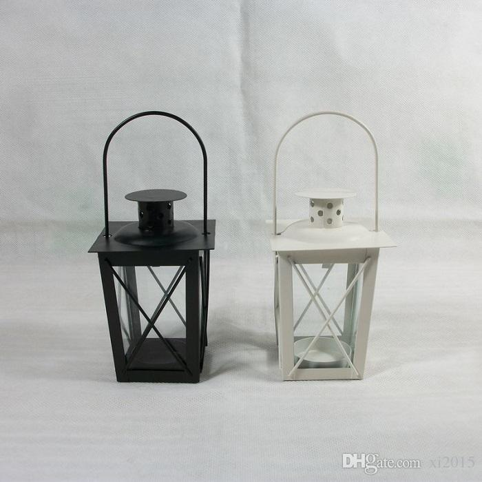 Black/White Metal Candle Holders Iron Lantern Hanging Candlestick Romantic Wedding Candelabra Centerpieces Decoration