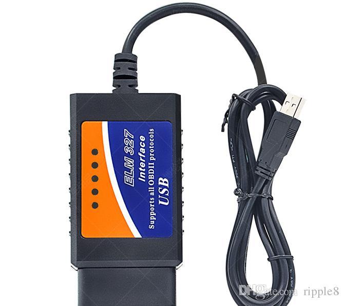 ELM 327 USB Plastkodsläsare OBD II Diagnostisk kabel ELM327 USB-skanner Hot Selling High Quality