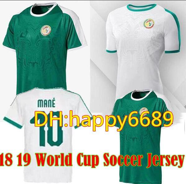 Top Copa Mundial De Fútbol De Tailandia 2018 Camiseta De Fútbol De Senegal  En Casa Lejos Blanco Verde 18 19 Melena De Senegal Balde Koulibaly Idrissa  Gueye ... 20727873583fd