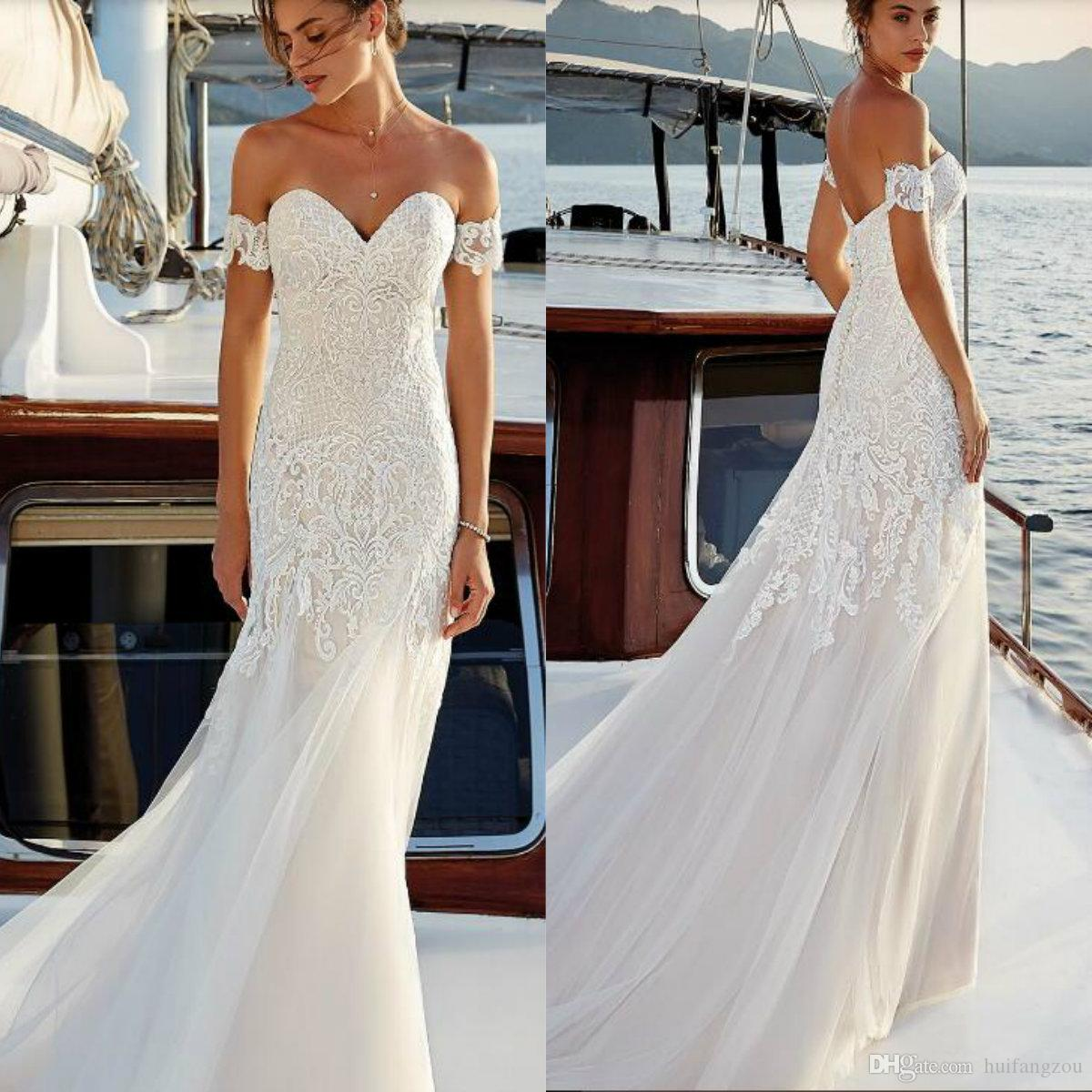 49677baa87c7 Eddy K. Dreams 2019 Wedding Dress Charming Lace Off Shoulder Applique Tulle  Sweep Train Backless Wedding Dresses Bride Dresses Dress For Wedding From  ...