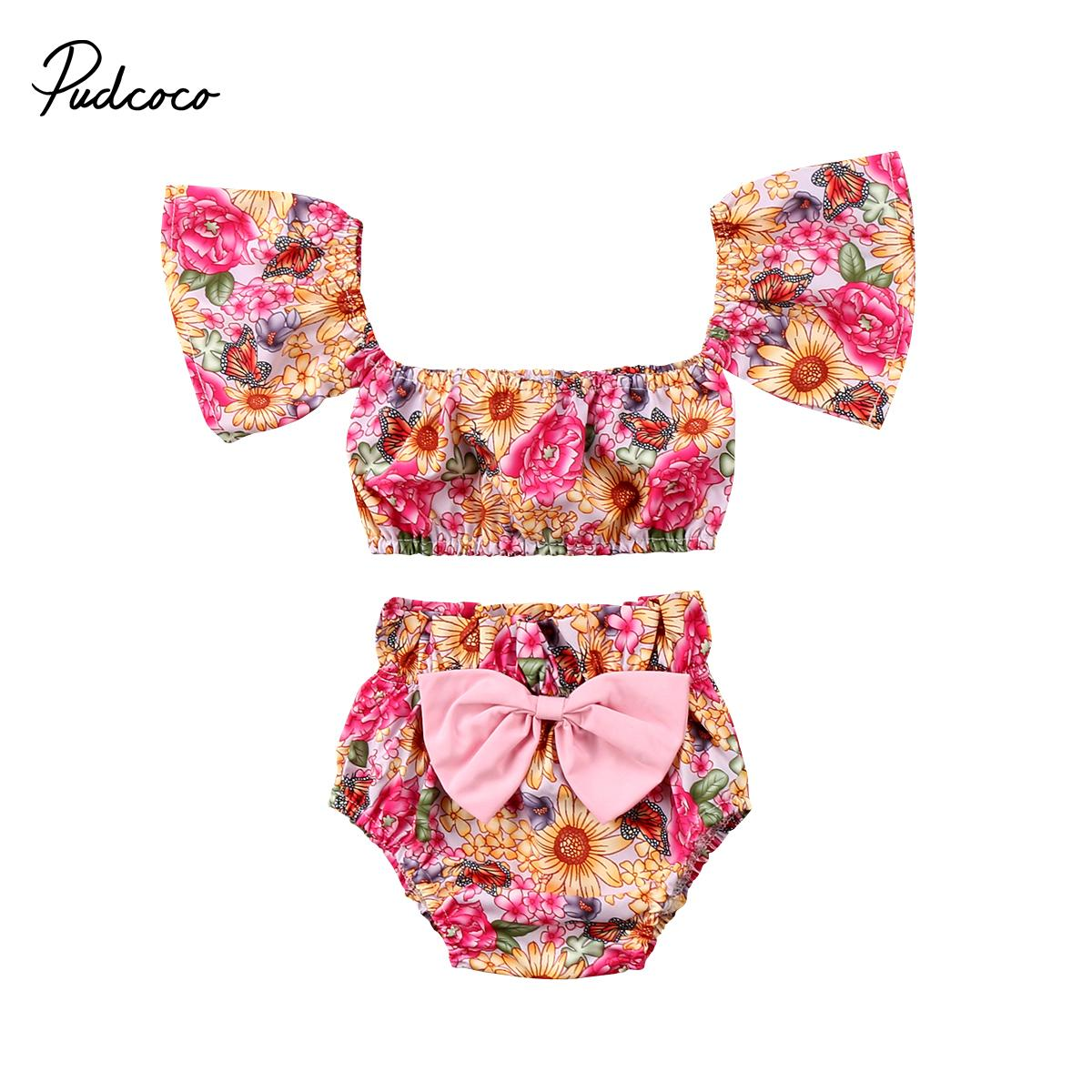 baa1c49e0c48f Lovely Baby Girls kids Summer Clothes Set Floral Print Off Shoulder T shirt  Tops Short Bow Knot Pants Fashion Pudcoco Outfit Set