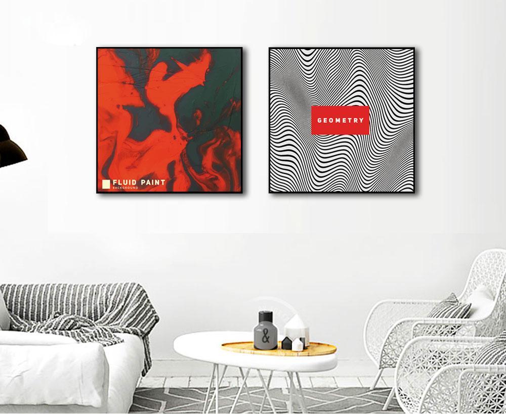 Rouge Résumé Image Noir Lignes Toile Art Enfants Chambre Décoration Imprimé  Peinture Mur Affiche Pas De Photo Encadrée