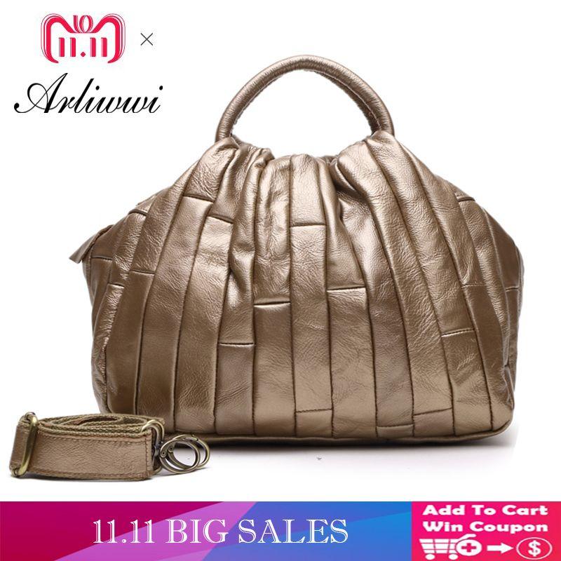 cc0e38a723fb 2019 Fashion Arliwwi Brand Designer REAL LEATHER Tote Handbag For Women  Genuine Cowhide Handmade Patchwork Elegant Cross Body Bags Lady Crossbody  Purse ...
