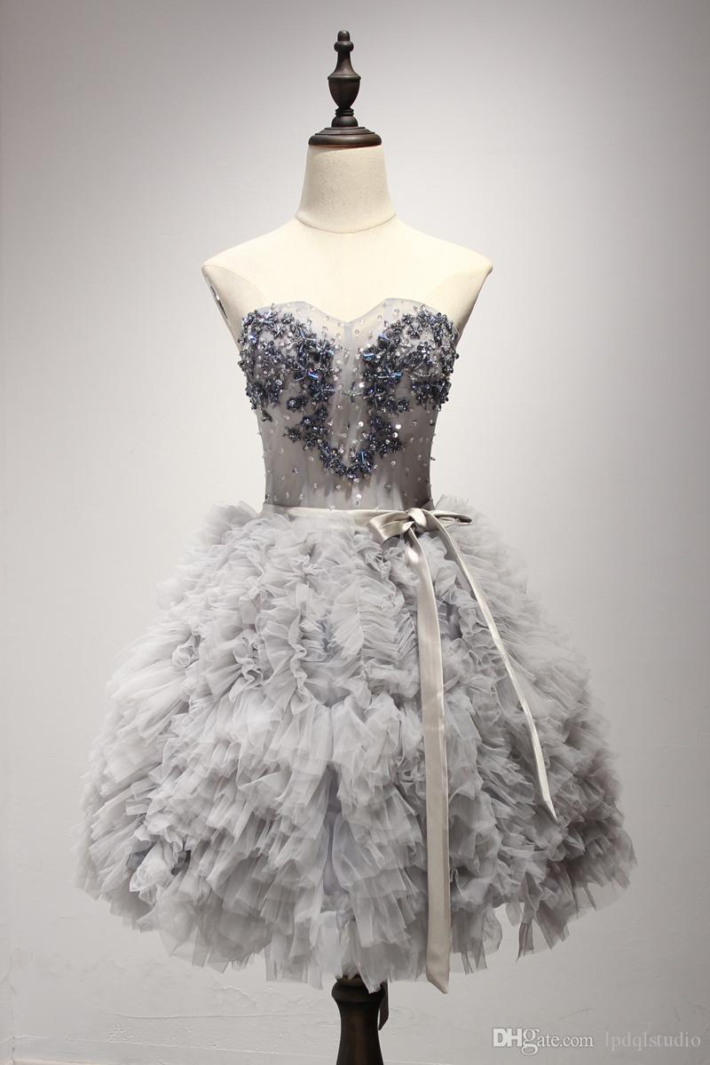 Stunning Silver Gray Prom Dress Ball Gown Knee Length Pleats Tulle Major Beading Sequins Party Dress Lace-up Back