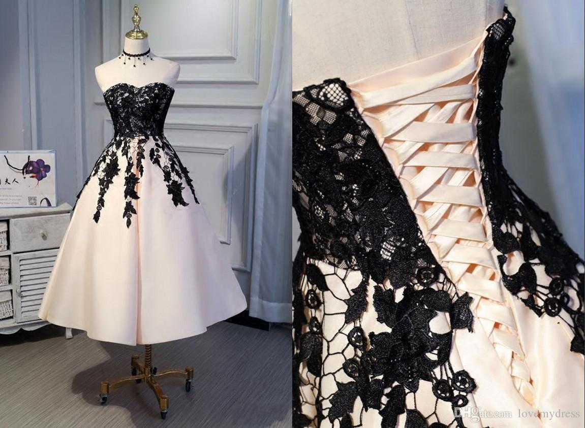 e04bcae4de Discount Sexy Champagne Satin Black Lace Tea Length Short Wedding Dress  Cheap A Line Sweetheart Corset Back Ruched Bridal Gowns Wedding Real Photos  Petite ...
