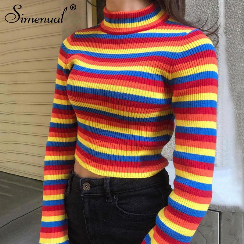 6c4292c47a Simenual Rainbow stripes sweater jumper knitwear fashion slim sexy women s  turtlenecks sweaters and pullovers colorful pull