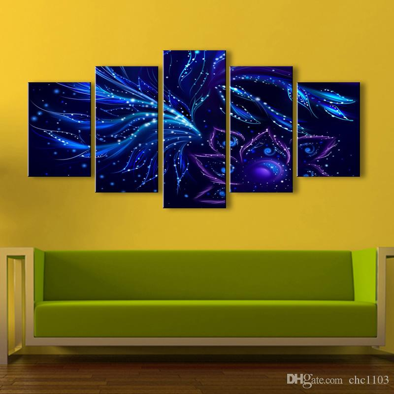 high-definition print blue flowers patterns petals canvas oil painting poster and wall art living room pictur PF5-014