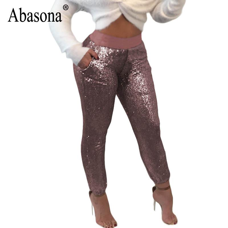 c52459301e9 2019 Abasona Women Gold Sequin Pants Evening Party High Waist Pencil Pant  Female Sexy Bodycon Skinny Leggings Plus Size Women Trouser From Vikey10
