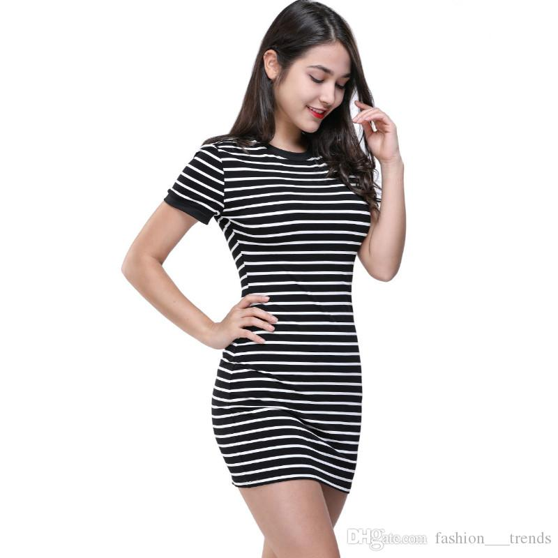 065151f8c48b8 New Summer Round Neck Short Sleeved Dress Black And White Striped Dresses  Casual Elegant Sheath Slim Pencil Dress Femininos Vestido Clothing