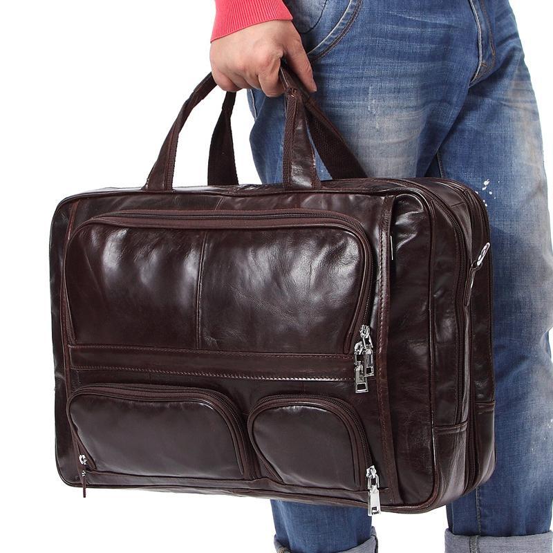 09aef1cdafd genuine leather messenger bag men 17 inch large capacity multifunction 2018  travel brand shoulder laptop man briefcase #8136