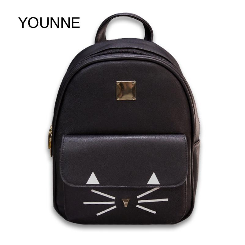 3bd1b8b32f4 YOUNNE Women Leather Backpack Cute Kitty Backpacks Female Casual Backpack  Solid High Quality Mini Backpacks For Girls 2018 Book Bags Herschel  Backpacks From ...
