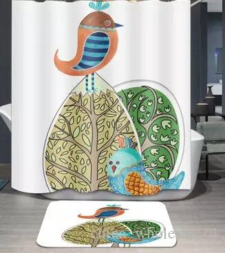 Cute Cartoon Fish Heart Kid Bath Polyester Curtain Bathroom Shower Waterproof 12 Hook Home Textile 180x180cm ARI 458