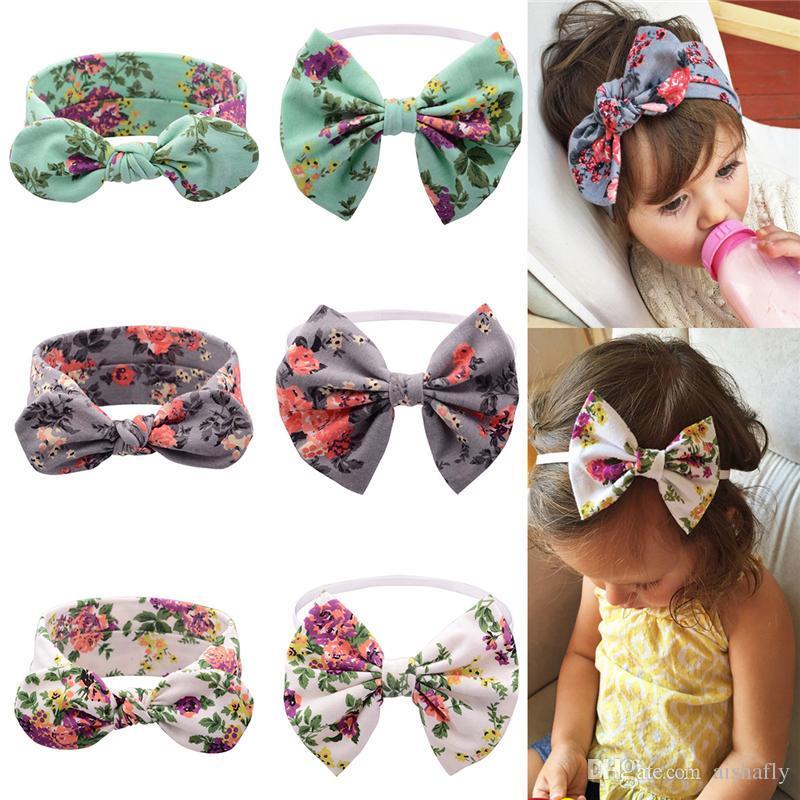 Good Quality Baby Headbands Big Bow Girls Cotton Bunny ear Printed Headbands