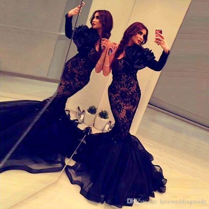 fd3add1a05b 2018 Modern Black One Long Sleeve Prom Dresses Lace Applique Sequins Arabic  Islamic Muslim Pakistani Formal Evening Gowns Good Prom Dress Websites High  ...