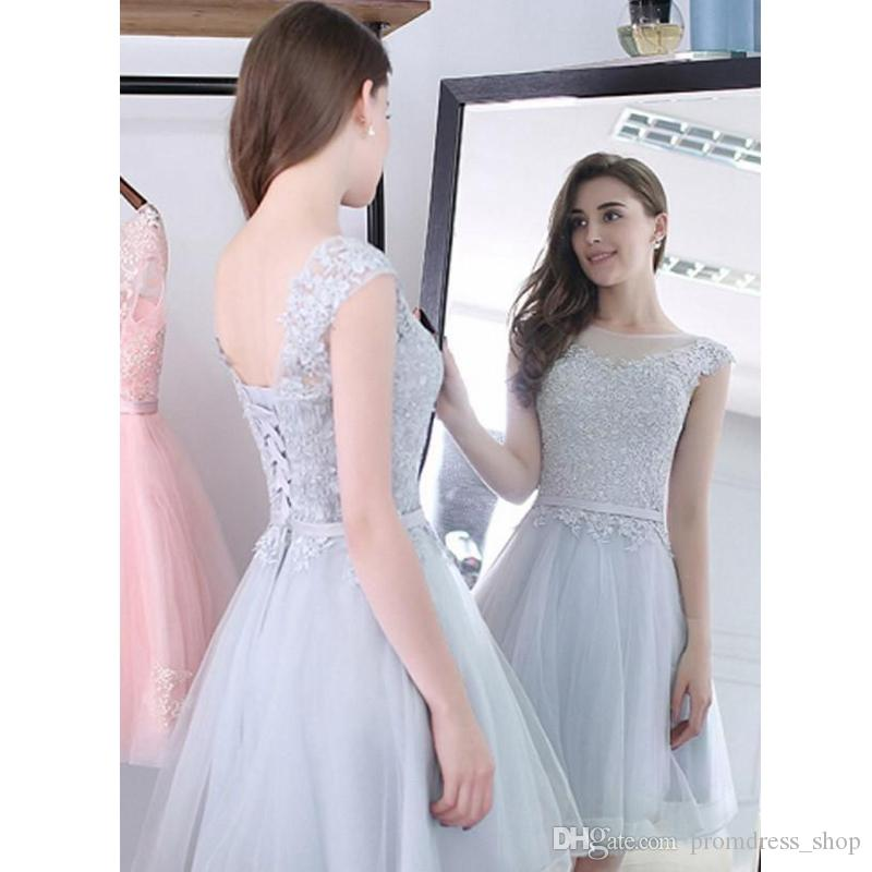 737cae00abddc Free Shipping Short Silver Homecoming Dresses for Girls Cheap Tulle Lace up  Corset Tulle Bandage Sheer Neck Knee Length Cocktail Prom Gowns