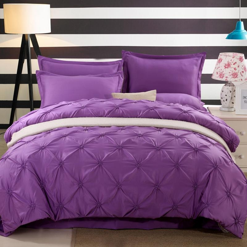 Wongs Bedding Luxury Purple Solid Bedding Sets Silk Satin Sheets Bed Linen Cotton Duvet Cover Bedsheet Queen King Size Clearance Duvet Covers Blue Duvet Beautiful - Latest luxury king bedding Top Design
