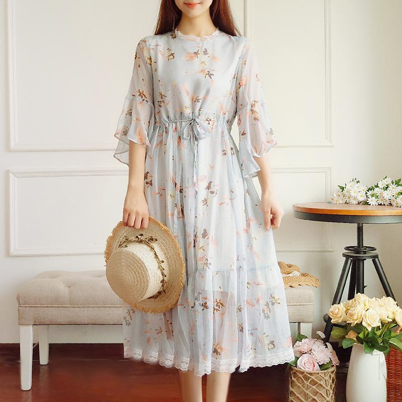 e4789ebaee 2019 Korean Fashion Summer Dress 2018 New Women Flare Sleeve Floral Print  Long Chiffon Dresses Ruffles Mori Girl Sweet Style From Bishops