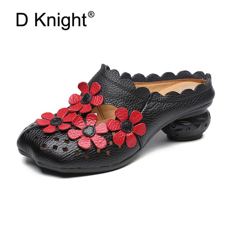 44f8caa518a5 2018 New Summer Vintage High Platform Sandals Women Genuine Leather Slippers  Retro Flower Strange Heels Slides Lady Sandal Shoes Slippers For Women  Cheap ...