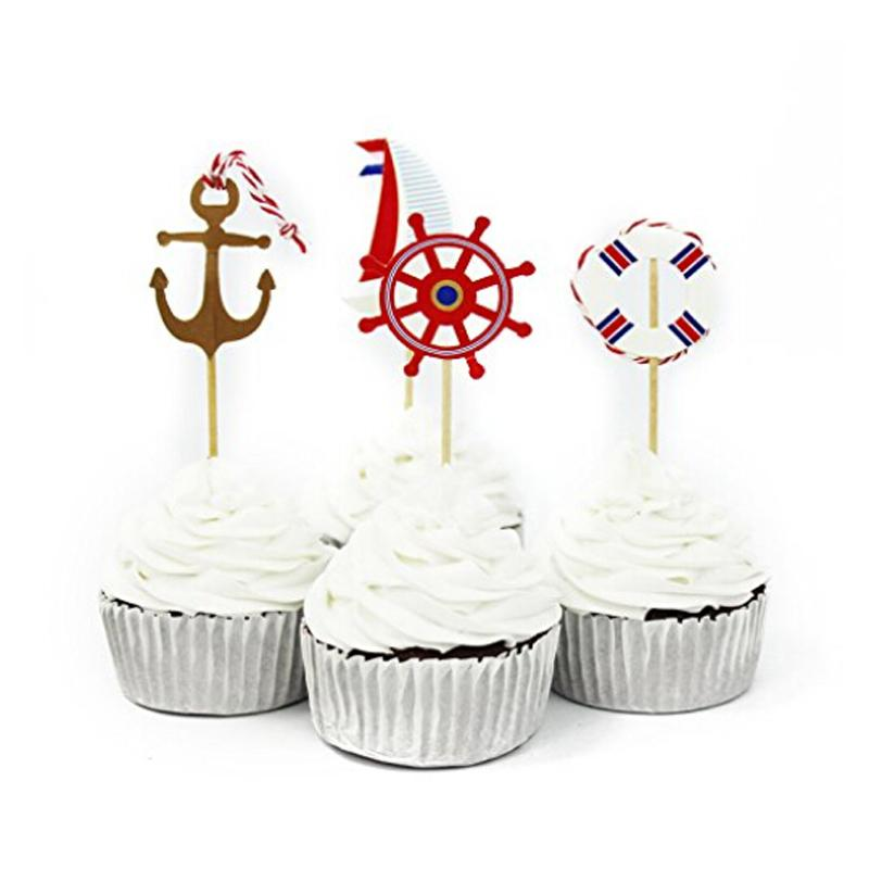 24PCS Nautical Theme Halloween Cupcake Topper Picks Cupcake Topper Supplies Child Kids Birthday Pirate Cake Party Decoration
