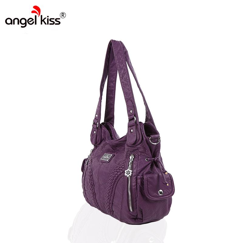 3b1481afad Angelkiss Brand Women Shoulder Bags Hobos Bags For Women PU Washed Handbags  High Quality Messenger Bags Knitting Casual Tote Bag
