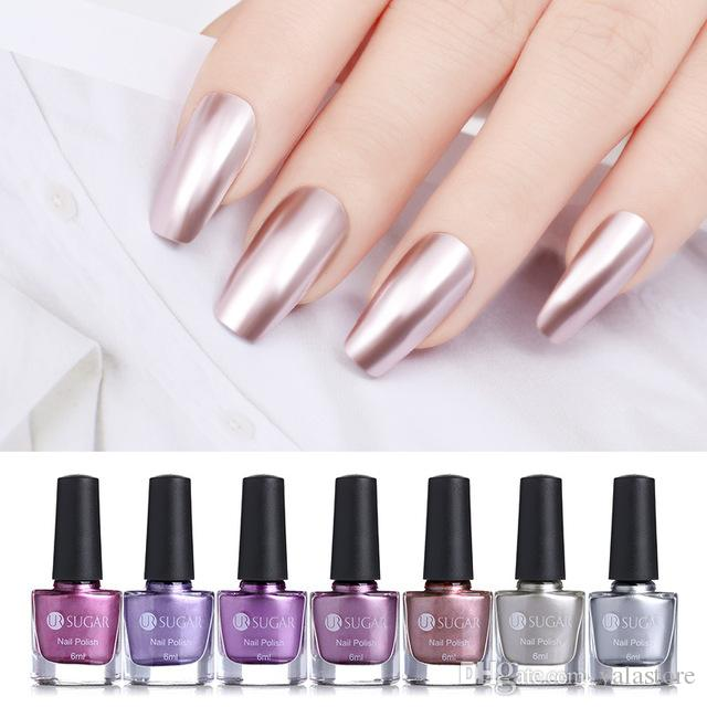 6ml Mirror Effect Metallic Nail Polish Purple Rose Gold Silver ...