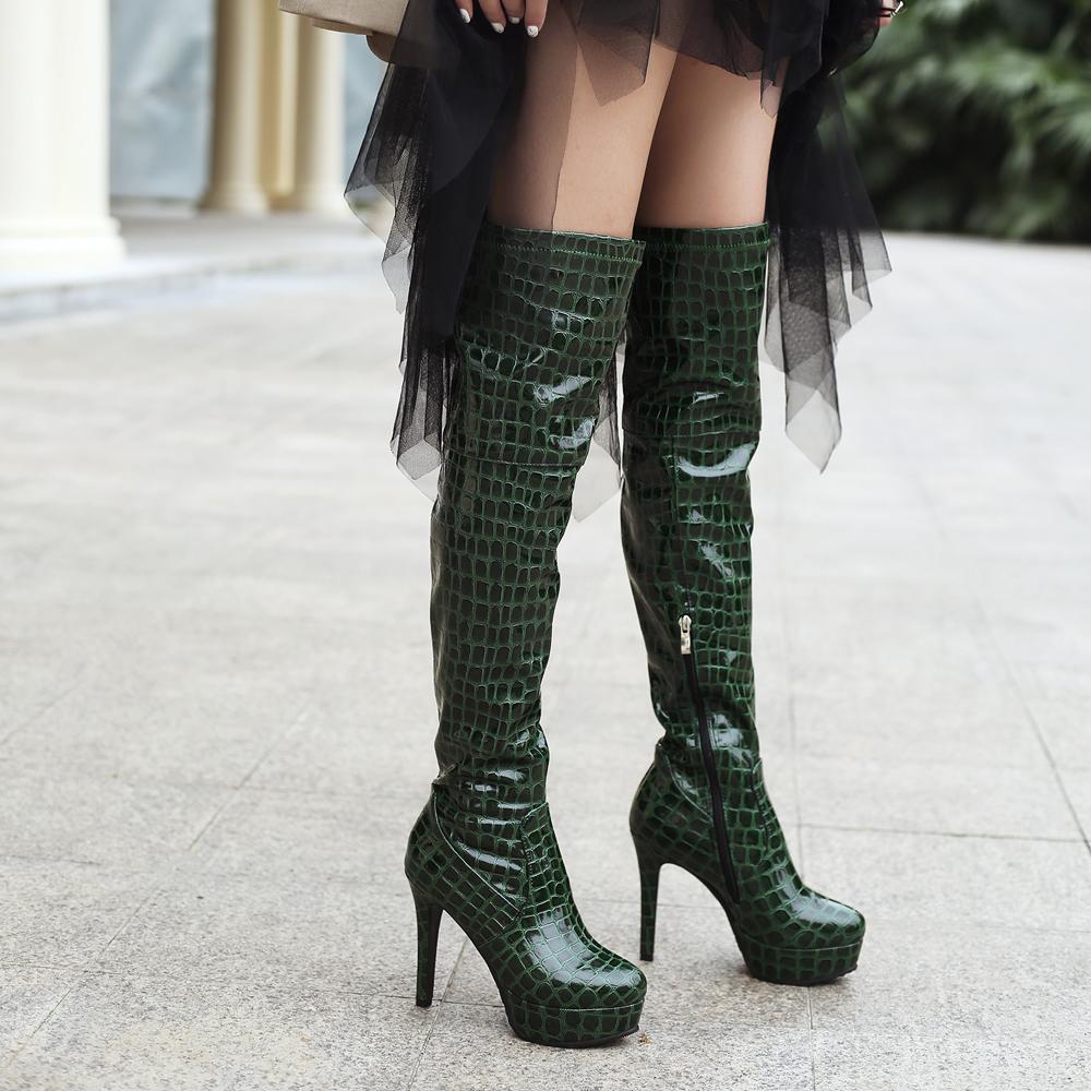 Compre S.Romance Botas De Mujer Zapatos De Mujer Sobre La Rodilla Tacones  Altos Finos Crocodilo Grano Imprimir PU Zip Buena Calidad Tamaño 34 43  SB362 A ... dcdbeb3aea14