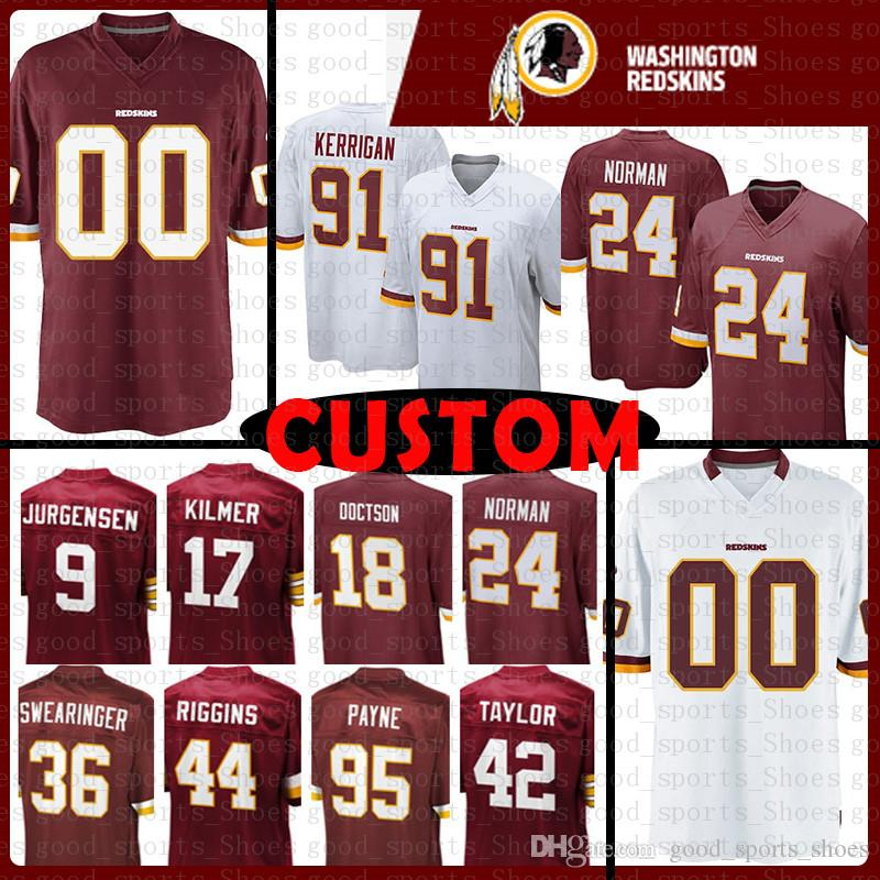 ffc2df37a 2019 Custom Washington Jersey Redskins 91 Ryan Kerrigan 36 D.J. Swearinger  24 Josh Norman 44 John Riggins 42 Charley Taylor Jurgensen Doctson From ...