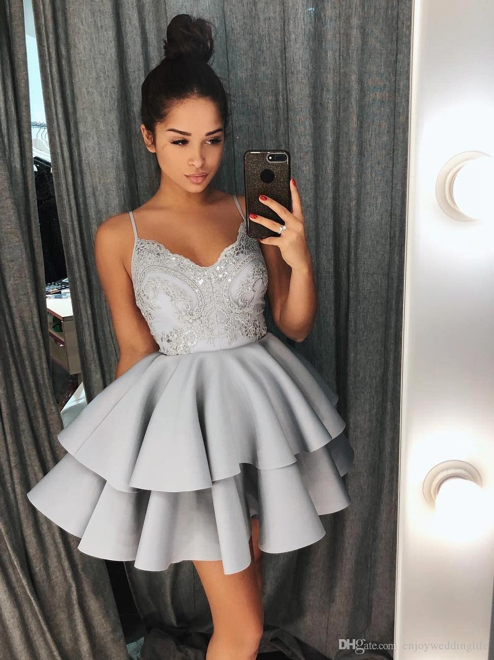f7c1762826db 2018 Silver Spaghetti Straps Mini Short Homecoming Dresses Lace Sequins  Tiered Skirts Cocktail Party Wear Short Prom Gowns BA9038 Short Dresses For  Juniors ...