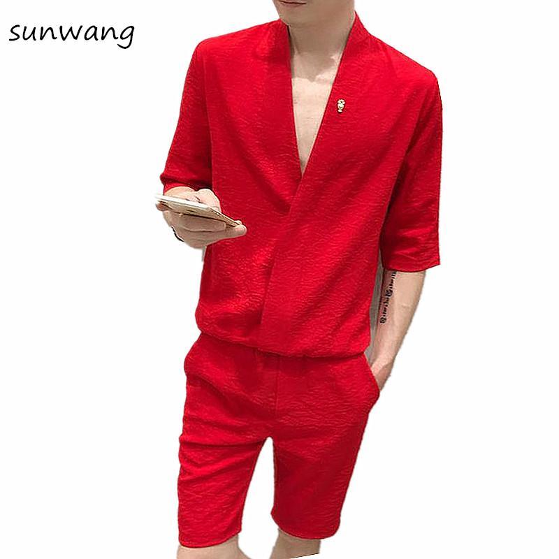 a9315e826f Compre 2018 Diseñador Único Cuello En V Camisas De Esmoquin De Los Hombres  De Moda Coreana Slim Fit Camisas De Vestir Para Hombres Camisa Ocasional De  Gran ...