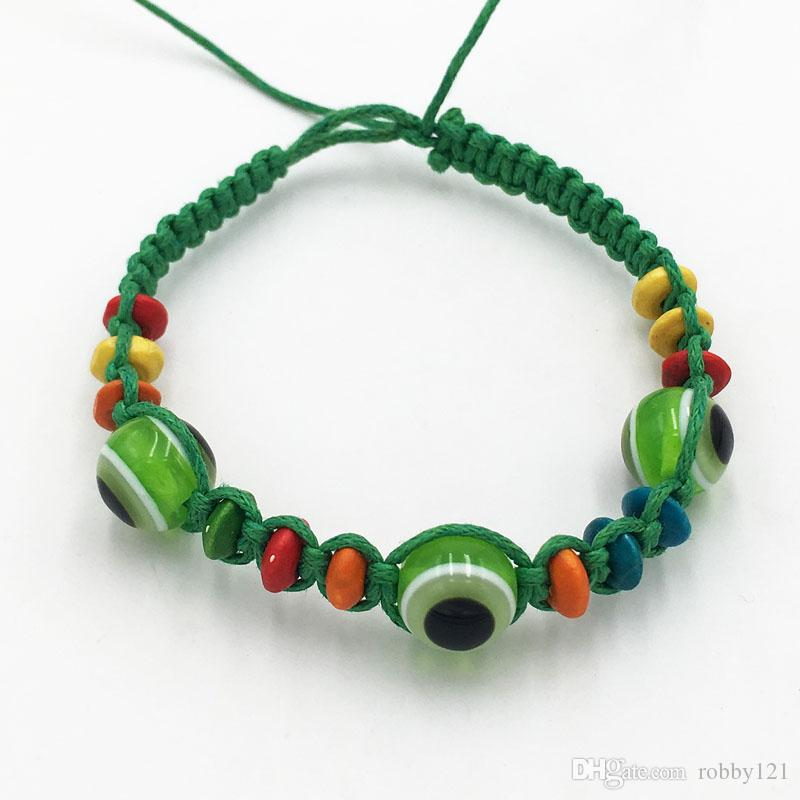 Wholesale Evil Eye Green String Ethnic Bracelets Lucky Turkish Eye Charm Bead Success Bracelet