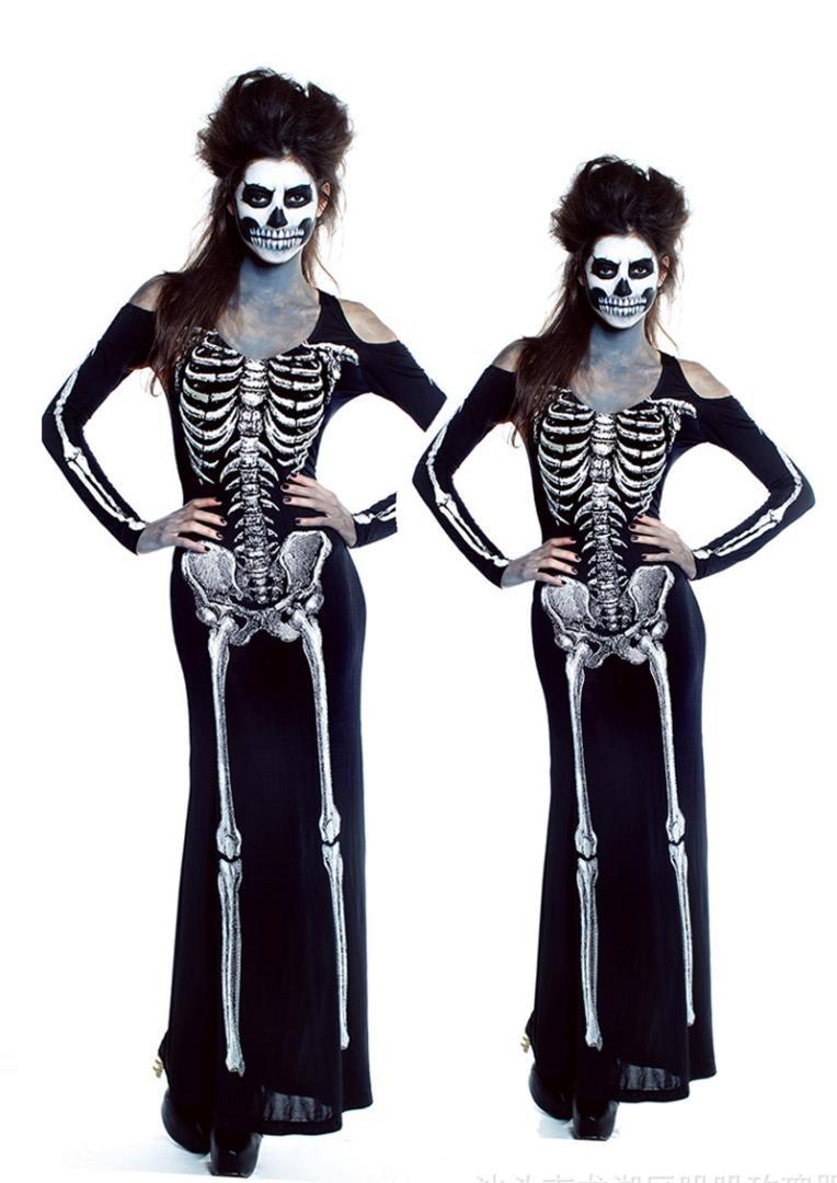 women scary skeleton dress halloween devil ghost cosplay costume rib