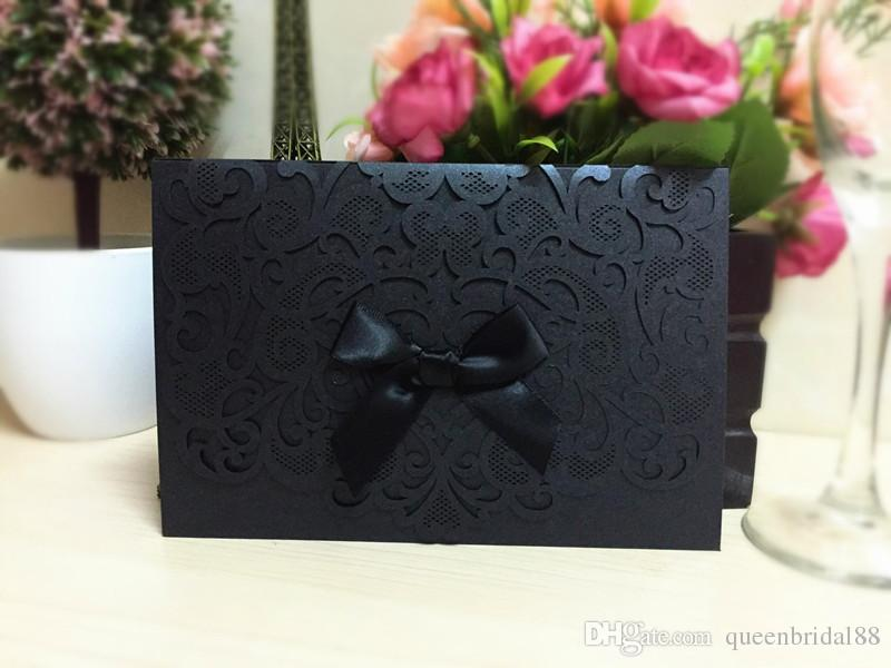 Wholesale Printing Laser Cutting 2020 Wedding Invitation Cards with Bow Hollow Wedding Favors