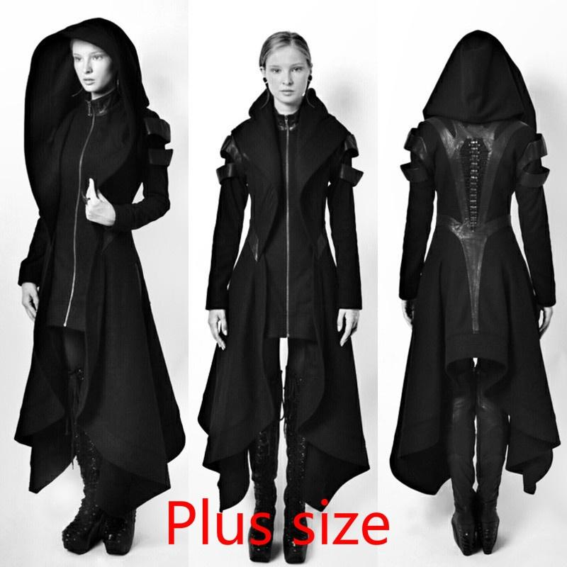 b15d2ea8823 2019 Cosplay Coat Irregular Hooded Leather Patchwork Tops Cosplay Avant  Long Coat Gothic Ninja Hero Clothing Warm Sexy Black Cape Coat Sweater From  ...
