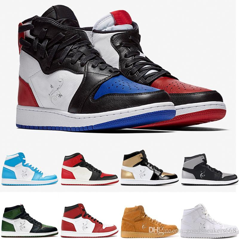 newest collection f8142 e563e Mens Designer Top 3 Bred Toe Chicago OG 1s Game Royal Blue Pine Green Man  Basketball Shoes Shattered Cheap Men Sports Sneakers Trainer Cool  Basketball Shoes ...