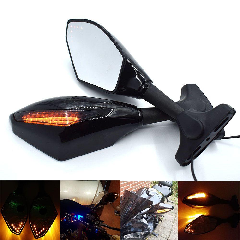 For motorcycle side mirrors with led turn signals indicator amber light black for honda kawasaki yamaha street bike cruiser indicator mirrors motorcycle