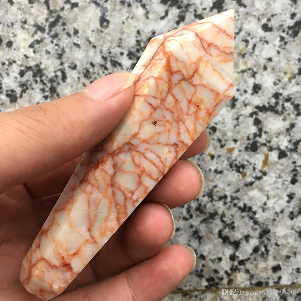 natural quartz crystal smoking pipe cigarette holder strainer gems stone quartz wands filter screen healing crystal pipe gift