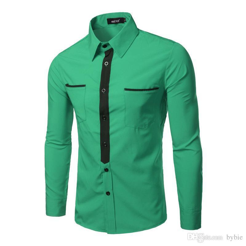 5df91f4ca Atacado-Fake Tie Design Homens Camisa 2016 Marca Bolsos de Manga Longa  Camisas Casuais Masculinos Chemise Homme Verde Vermelho Camisa de Vestido  de Negócios ...